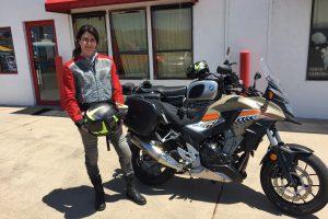 Shauna Lupcho riding a 2016 Honda CB500X